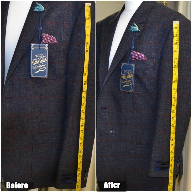Jacket sleeve shortening from the shoulder